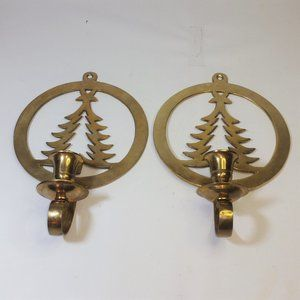 2 Brass Wall Hanging Christmas Tree Candle Holder